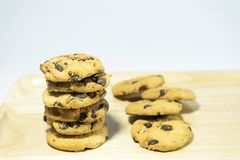 Stack cookies on wood with blue background royalty free stock photo