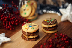 Stack of cookies tied with twine. stock image