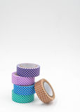 Stack of Cool Colored Colorful Washi Tape on White Background. Vertical Royalty Free Stock Photos