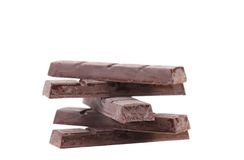 Stack of cooled chocolate bars Royalty Free Stock Images