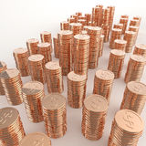 Stack of copper coins dollar sign 3d Royalty Free Stock Image