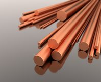 Stack of copper rods - 3d illustration royalty free stock images