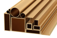 Stack of Copper Rolled Metal Products Stock Image