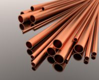 Stack of copper tubes - 3d illustration stock image