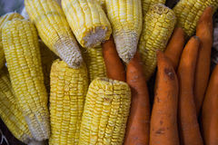 The stack of corn and carrot Royalty Free Stock Photography