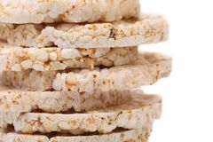 Stack of corn crackers. Close up. Royalty Free Stock Photos
