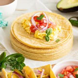 Stack of corn tortillas Stock Photo