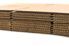Stack of corrugated cardboard boxes. side perspective view of fl Stock Photos