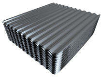 Stack of corrugated metal sheets Stock Photos