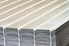 Stack of corrugated steel sheet Stock Photos