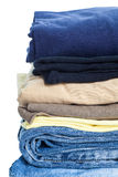 Stack of Cotton shirt and blue jean Stock Image
