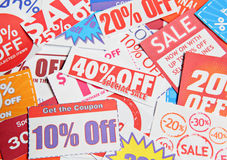 Stack of coupons Stock Photos