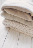Stack of cozy knitted sweaters Royalty Free Stock Image