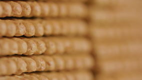 Stack of Cracker. Camera movement from top to bottom stock footage