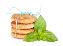 Stack of crackers with basil Stock Photo