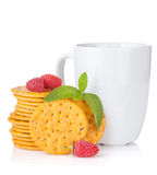 Stack of crackers and cup of drink Stock Images