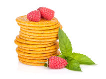 Stack of crackers with mint and berries Royalty Free Stock Photography