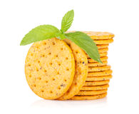 Stack of crackers with mint Stock Photo