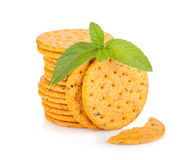 Stack of crackers with mint Stock Images