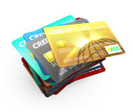 Stack of credit card isolated on white background Royalty Free Stock Images