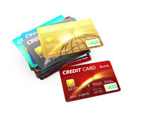 Stack of credit card isolated on white background Royalty Free Stock Photography