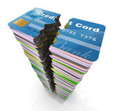 Stack of credit cards broken Royalty Free Stock Images