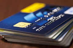 A stack of credit cards. Close-up of stacked credit cards Royalty Free Stock Photo