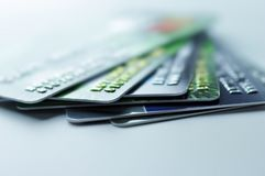 Credit cards. Stack of credit cards, close up view with selective focus Stock Images