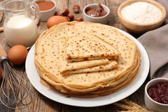 Stack of crepe. And ingredient stock photo