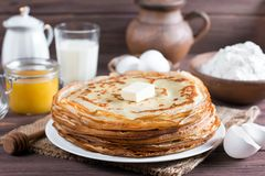 Stack of crepes or pancakes for Maslenitsa. Russian bliny stock image