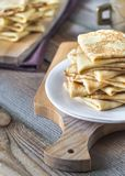 Stack of crepes on the plate Royalty Free Stock Image