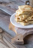 Stack of crepes on the plate Royalty Free Stock Photography