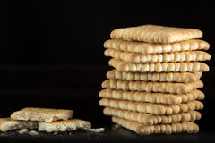 Stack of crispy crackers Royalty Free Stock Photos