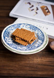 Stack of crispy rye crackers on a plate Royalty Free Stock Photography