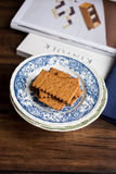 Stack of crispy rye crackers on a plate Stock Image