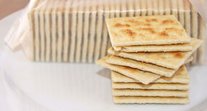 Stack of crispy salted crackers on a plate to be enjoyed plain or with a topping Royalty Free Stock Photography
