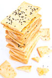 Stack of crunchy bread  with sesame on top Royalty Free Stock Images