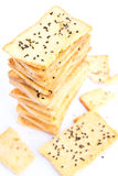Stack of crunchy bread  with sesame on top Stock Image
