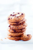 Stack of crunchy choc chip cookies Stock Photography