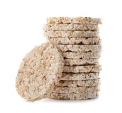 Stack of crunchy rice cakes. On white background stock images