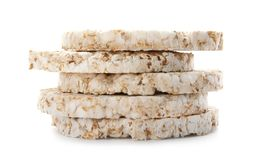 Stack of crunchy rice cakes stock photos