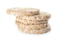 Stack of crunchy rice cakes. On white background stock photo