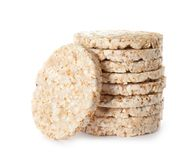 Stack of crunchy rice cakes. On white background stock photography