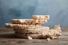 Stack of crunchy rice cakes royalty free stock photo