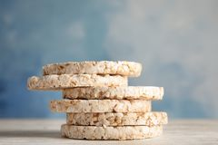 Stack of crunchy rice cakes. On wooden table stock photography