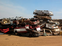 Stack of crushed cars Royalty Free Stock Photography