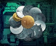 Stack of cryptocurrencies with a Bitcoin inside stock illustration
