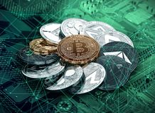 Stack of cryptocurrencies laying on the motherboard with a golden bitcoin in the center stock illustration