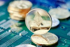 Stack of cryptocurrencies on motherboard. Bitcoin as most important cryptocurrency concept. 3D illustration. Stack of cryptocurrencies arranged on the stock photo