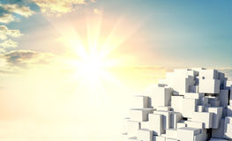 A stack of cubes against a beautiful sunrise. 3d illustration vector illustration
